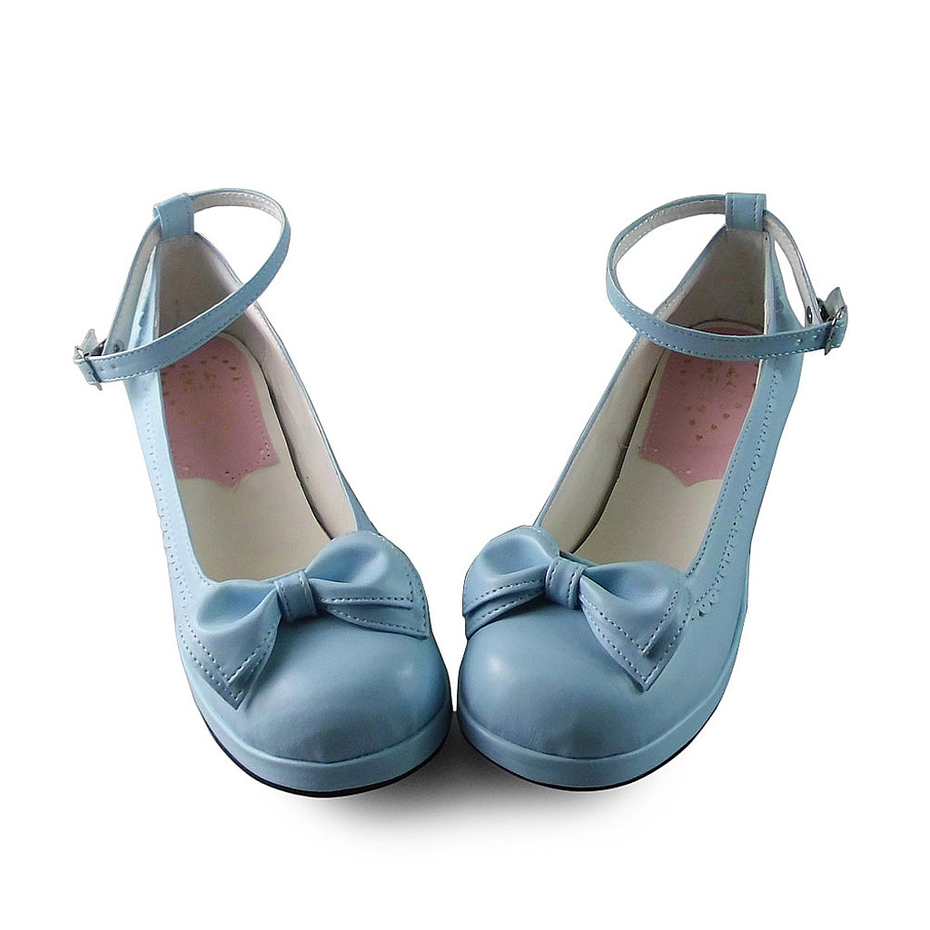 1.8 Inch Heel Round Toe Ankle High Bow Blue PU Lolita Sandals Shoes