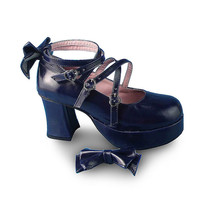 3 Inch Heel 1.2 Inch Platform Ankle High Round Toe Bow Royal Blue Lolita... - $43.74
