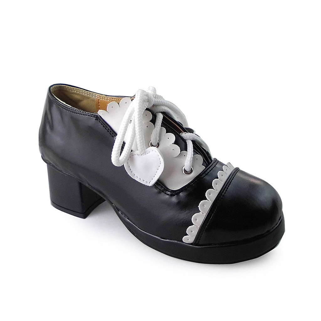 1.8 Inch Heel Round Toe Ankle High White and Black PU Lolita Shoes