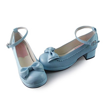 1.8 Inch Heel Round Toe Ankle High Bow Blue PU Lolita Sandals Shoes image 3