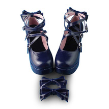 3 Inch Heel 1.2 Inch Platform Ankle High Round Toe Bow Royal Blue Lolita Shoes image 2