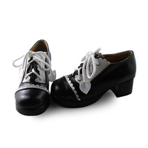 1.8 Inch Heel Round Toe Ankle High White and Black PU Lolita Shoes image 2