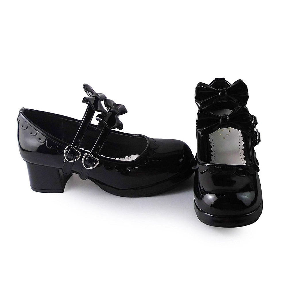 1.8 Inch Heel Round Toe Ankle High Bow Black PU Lolita Shoes