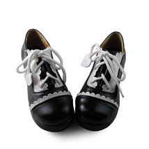 1.8 Inch Heel Round Toe Ankle High White and Black PU Lolita Shoes image 3