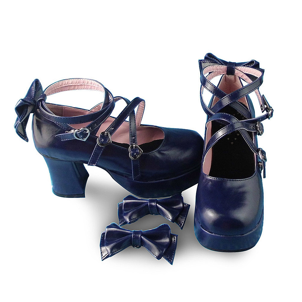 3 Inch Heel 1.2 Inch Platform Ankle High Round Toe Bow Royal Blue Lolita Shoes