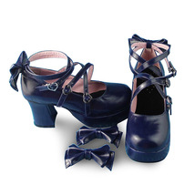 3 Inch Heel 1.2 Inch Platform Ankle High Round Toe Bow Royal Blue Lolita Shoes image 3