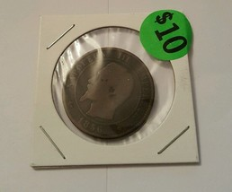 1856 MA France 10 Centimes Napoleon III Coin - Marseille Mint - $10.00