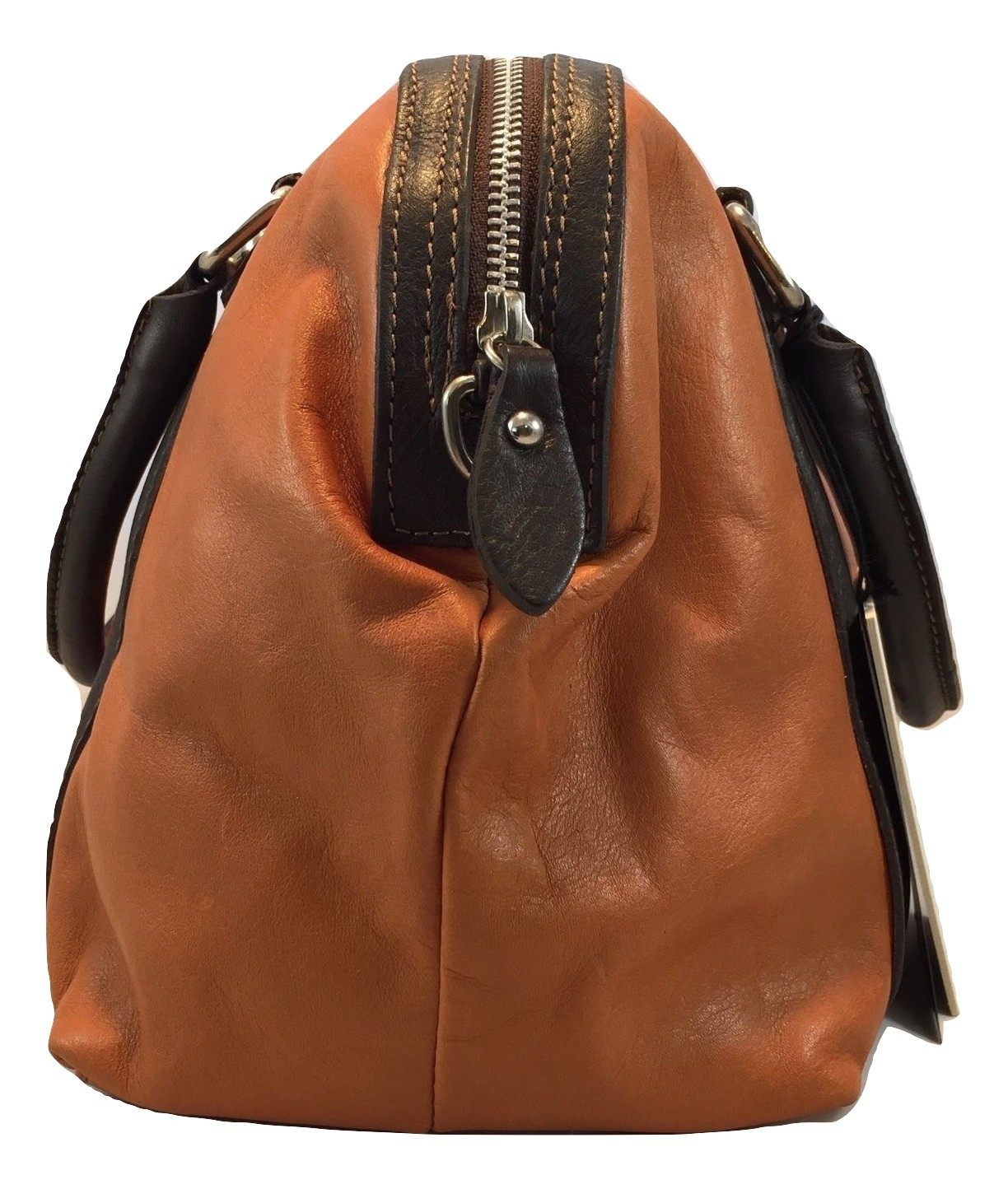 New Made in Italy Two Tone Brown and Tan Italian Leather Satchel Handbag Purse