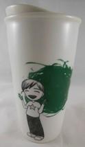 Starbucks 2015 Green Dot Child Finger painting Insulated Porcelain Trave... - $17.07