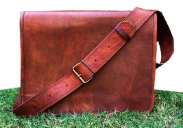 HANDMADE Genuine Brown Leather Vintage Retro Mens Laptop Computer MESSEN... - $52.31