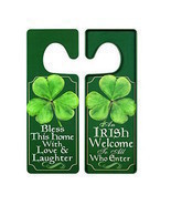 St Patricks Day Irish Door Hanger Blessing Welcome Shamrock Metal Decora... - $8.90