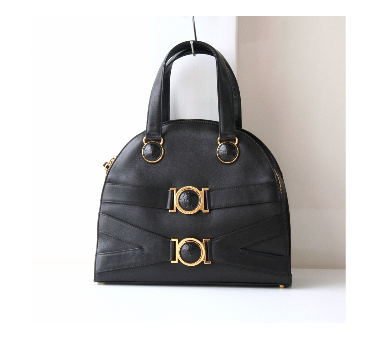 160919 01 01. 160919 01 01. Previous. Gianni Versace Bag Black Medusa  Leather Tote Authentic Vintage Purse 5b0a8e0e6f591