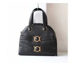 Gianni Versace Bag Black Medusa Leather Tote Authentic Vintage Purse - $780.00