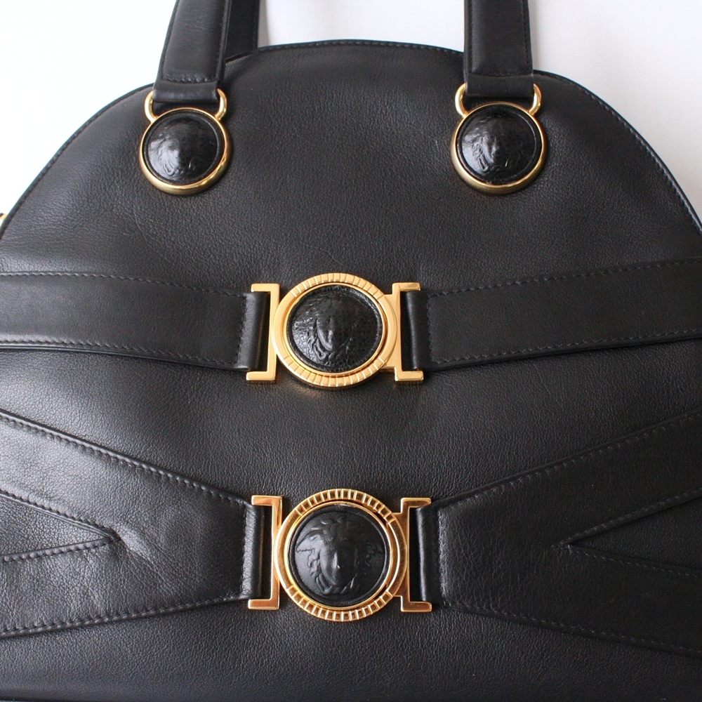 Gianni Versace Bag Black Medusa Leather Tote Authentic Vintage Purse 0d7c1ddb590ce
