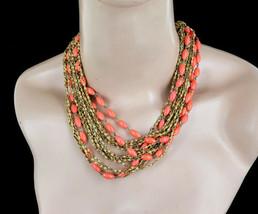 Vintage Trifari Gold Tone Mid Century Multi Strand Coral Beaded Necklace 15-17†- $116.99