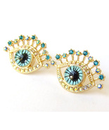 Sparkling Evil Eye Lashes Good Luck Protection Stud Earrings Gold Bling ... - $8.99