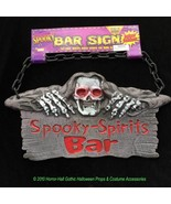 Skull Reaper SPOOKY SPIRITS BAR SIGN Drink Halloween Party Prop Decoration - $14.82
