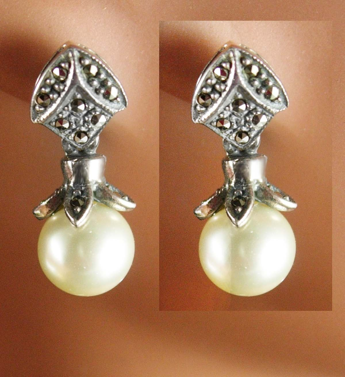 Primary image for Sterling PEARL Earrings Vintage sterling Ladies Bridesmaid 1st 3rd 30th annivers