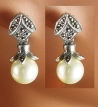 Sterling PEARL Earrings Vintage sterling Ladies Bridesmaid 1st 3rd 30th ... - $55.00