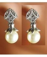 Sterling PEARL Earrings Vintage sterling Ladies Bridesmaid 1st 3rd 30th ... - £44.16 GBP