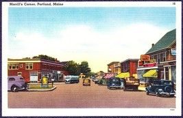Portland, Maine Antique Linen Postcard - Morrill's Corner - $10.75