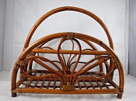 Vintage Mid Century Modern Bent Wood Rattan Bamboo Magazine Rack Book St... - $38.52
