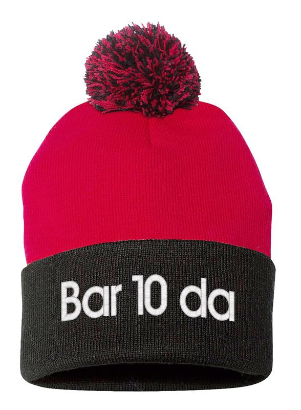 BARTENDER Bar10da, Pom Pom on top Fine Finished Embroidery Beanie