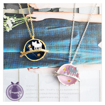 Gem kitten long moon necklace crystal necklace - $3.20