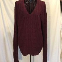 Women's Chaps Heavy Cable Knit Preppy Sz XL Ribbed Long Sleeve Burgundy Sweater - $19.33