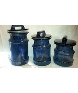 Vintage Blue Glass Milk Jug Canister Set of 3 1... - $65.00