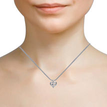 """Swarovski CZ Mother's Day """"Mom"""" Heart Pendant in White Gold Plated 925 Silver - $54.39"""