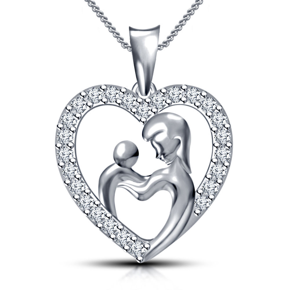 Primary image for New look White Gold Plated 925 Sterling Silver CZ Mom & Child in Heart Pendant