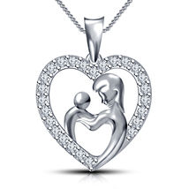 New look White Gold Plated 925 Sterling Silver CZ Mom & Child in Heart P... - $63.99