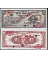 El Salvador 2 Colones, 1962, P-101, UNC, Specimen - $441.47 CAD