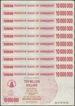 Zimbabwe 10 Million Dollars X 10 Pieces (PCS), 2008, P-55, USED - $11.99