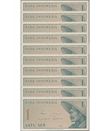 Indonesia 1 Sen X 10 Pieces (PCS), 1964, P-90, UNC - $6.35 CAD