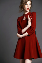 Autumn European Elegant Women Lace Hollow Bow 3/4 Sleeve Slim Mini Dress... - £12.40 GBP