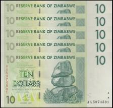 Zimbabwe 10 Dollars X 5 Pieces (PCS), 2007, P-67, USED,100 Trillion Series - $4.49