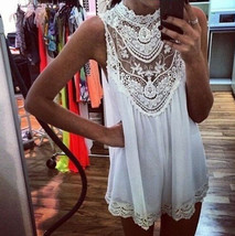 Women Summer Sexy Lace Sleeveless Loose Casual Beach Dress Party Mini Dr... - £10.15 GBP