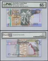 Seychelles 50 Rupees, 2011, P-42, UNC, Sea Tortoise, PMG 65 EPQ - $30.99