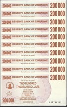 Zimbabwe 200,000 (200000) Dollars X 10 Pieces (PCS), 2007, P-49, UNC - $59.99