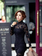 New Women Long Sleeve Polo Neck Sexy Clubwear Party Cocktail Lace Mini D... - £10.90 GBP