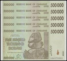 Zimbabwe 500,000 (500000) Dollars X 5 Pieces PCS,2008,P-76,UNC,50 & 100 ... - $11.49