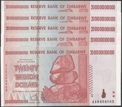 Zimbabwe 20 Trillion X 5 PCS (Pieces), 2008,P-89, UNC, 50 & 100 Trillion... - $198.99