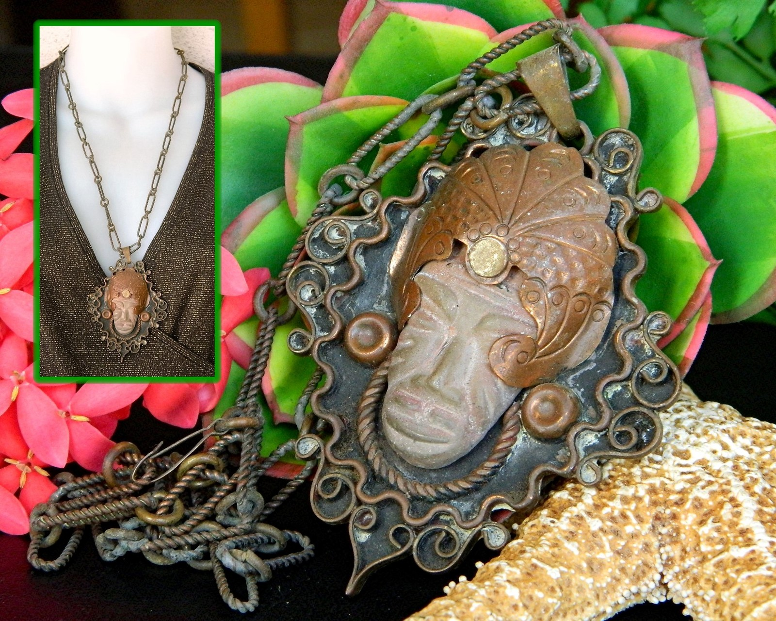Vintage Mexico Copper Necklace Aztec Mayan Warrior Face Mask Pendant Unbranded