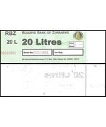 Zimbabwe 20 Litres Petril/Diesel Gas Ration Coupon, UNC - ₨65.12 INR