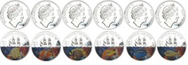 Fiji $1 Silver plated 6 coin Set, 2009,KM-145 t... - $54.95