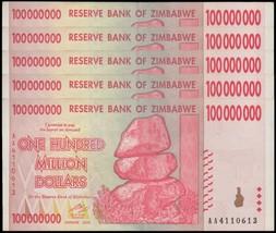 Zimbabwe 100 Million Dollars X 5  Pieces (PCS), AA/2008, P-80, USED,100 ... - $29.99