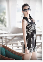 Vintage Women Floral Bohemia Blouses Sexy Mini Dress V 2016 New Stand Co... - £12.40 GBP