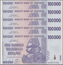 Zimbabwe 100,000 (100000)  Dollars X 5 Pieces (PCS), 2008, P-75,UNC,100 ... - $29.99